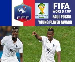 Puzle Paul Pogba, mladý hráč award. Brazílie 2014 mistrovství světa ve fotbale