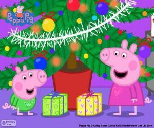 Puzle Peppa Pig a George na Vánoce