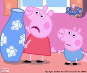Puzle Peppa Pig a modrá váza