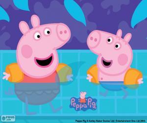 Puzle Peppa Pig jde plavání