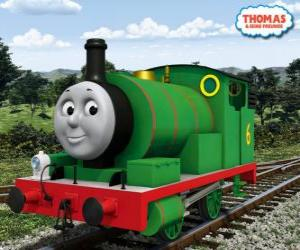 Puzle Percy, nejmladší lokomotiva, zelené barvy a číslo 6. Percy je nejlepší přítel Thomas