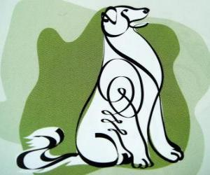 Puzle Pes, znamení psa, rok psa v čínské astrologii. Předposlední z dvanácti zvířat čínského zvěrokruhu