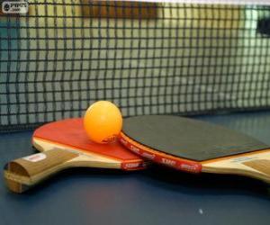 Puzle Ping-pong,stolní tenis rakety a míče