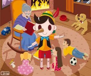 Puzle Pinocchio. Dřevěná loutka která se stane dítě