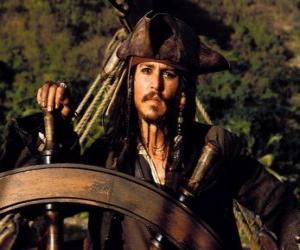 Puzle Pirát kapitán u kormidla jeho lodi