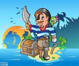 Puzle Pirát s truhla s pokladem