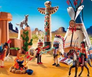 Puzle Playmobil indiánský tábor
