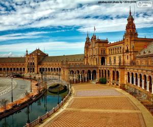 Puzle Plaza Španělska, Sevilla, Španělsko