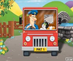 Puzle Pošťák Pat s jeho kočka Jess v distribuci pošty
