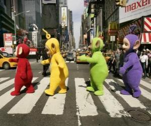 Puzle Po, Laa-Laa a Dipsy Tinky-Winky křížení ulice