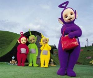 Puzle Po, Laa-Laa a Dipsy Tinky-Winky s jeho červenou tašku v přední části domu