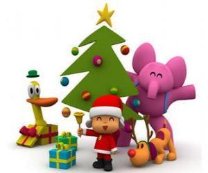 Puzle Pocoyo a jeho přátelé na Vánoce