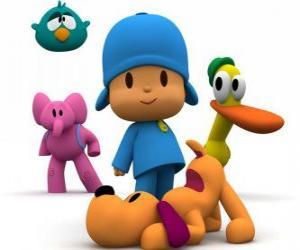 Puzle Pocoyo a jeho přátelé Pato, Elly, Loula a Sleepy Bird