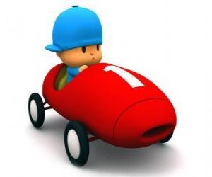 Puzle Pocoyo jízdy závodní auto