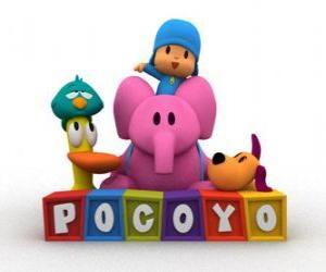 Puzle Pocoyo nejlepší přátelé jsou Pato, Elly, Loula a Sleepy Bird