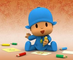 Puzle Pocoyo sedí na podlaze a dělat kreslení na list papíru