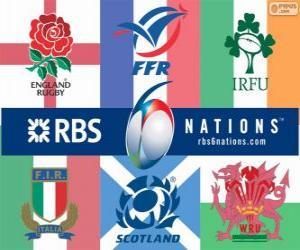 Puzle Pohár šesti národů rugby s účastníky: Francie, Skotsko, Anglie, Wales, Irsko a Itálie