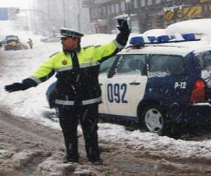 Puzle Policista nebo strážník zastavení provozu