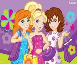 Puzle Polly Pocket se svými přáteli nakupovat