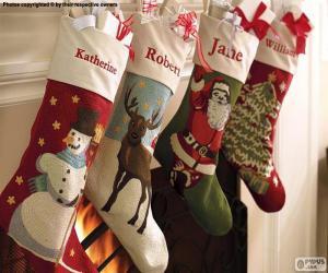 Puzle Ponožky s vánoční výzdobou