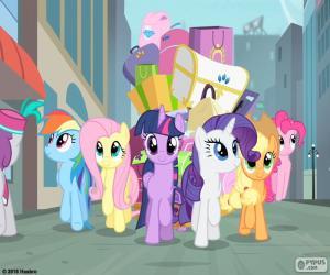 Puzle Ponys při příjezdu do Manehattan