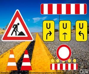 Puzle Práce na silnici známky