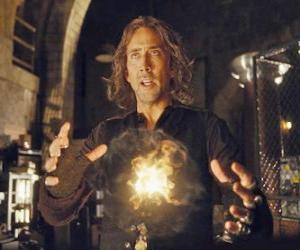Puzle Průvodce nebo kouzelník s magickým ohněm