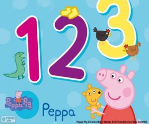 Puzle Prasátko Peppa a čísla