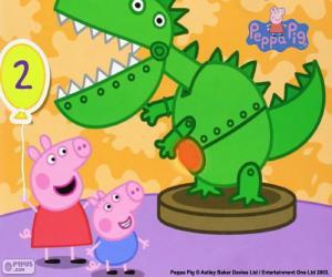 Puzle Prasátko Peppa a dinosaura