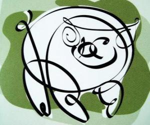 Puzle Prase, znamení prasete, rok prasete v čínské astrologii. Poslední z dvanácti zvířat čínského zvěrokruhu