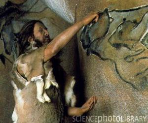 Puzle Prehistorické umělec si uvědomil, jeskynní malba představující buvola ve stěně jeskyně, zatímco je sledován dinosaurus z venku