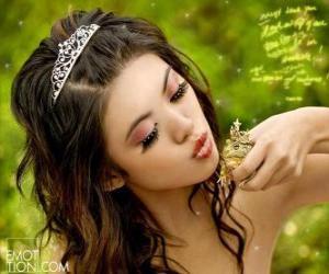 Puzle Princezna dávat pusu na žábu