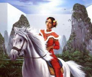 Puzle Princezna krásná koni