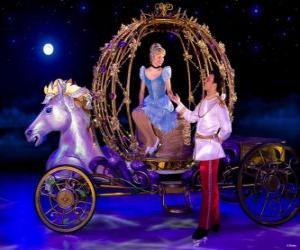 Puzle Princezna prince pomáhá kočáru dolů