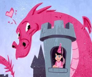 Puzle Princezna ve svém zámku sledoval veliký drak