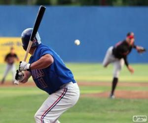 Puzle Profesionální hráč baseballu, těsto se pálka vztyčenou