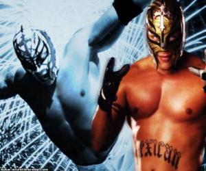 Puzle Profesionální zápasník s maskou připravené k boji, profesionální wrestling je show sport