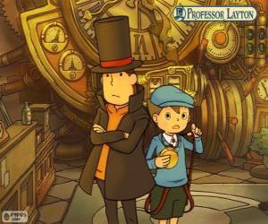 Puzle Profesor Layton a jeho pomocník Luke Triton, hlavní protagonisté tajemství a puzzle hry pro Nintendo
