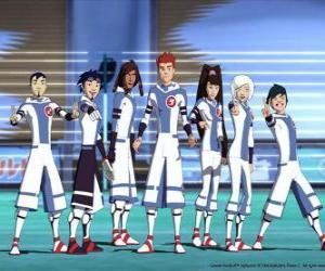 Puzle Protagonisté dobrodružství galaktické fotbalu, některé děti sníh týmu na planetě Akillian hráči