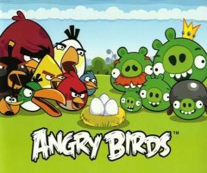 Puzle Ptáci, vejce a zelená prasata v Angry Birds