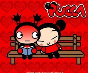 Puzle Pucca a Garu sedí na lavičce v parku