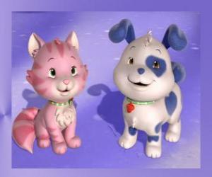 Puzle Pupcake je štěně Jahodový koláč s Pudink je kotě Jahodový koláč