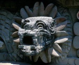 Puzle Quetzalcoatl, aztécký bůh života, opeřený had