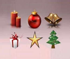 Puzle Různé vánoční ozdoby