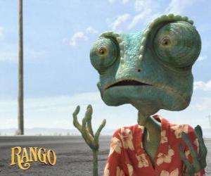 Puzle Rango je pet chameleon, který žije v teráriu, která končí v poušti