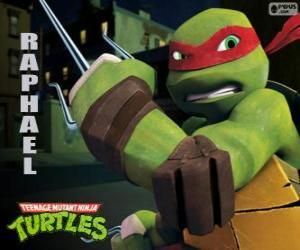 Puzle Raphael, agresivnější ninja želvy s jeho zbraní v ruce, pár Sai, trojí dýku