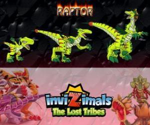 Puzle Raptor, nejnovější vývoj. Invizimals The Lost Tribes. Nebezpečné lovec, který je rychlý, inteligentní, agresivní