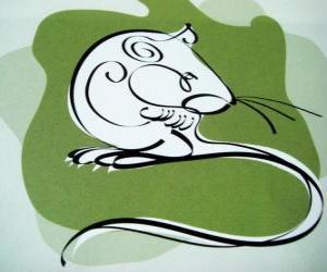 Puzle Rat, znamení krysy, roku krysy. První známkou z dvanácti zvířat Čínský horoskop
