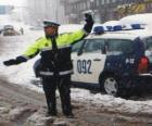 Policista nebo strážník zastavení provozu