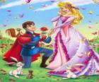 Prince Philip klečící před princezna Aurora v sňatku